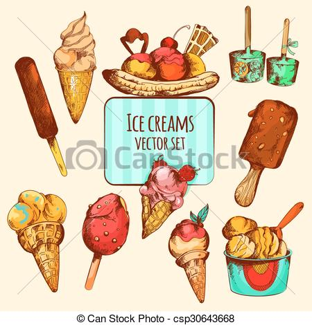 Sketch clipart ice cream Sketch Colored Cream Vector Colored