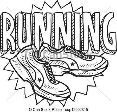 Sketch clipart line art Running sports style Vector