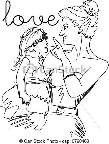 Sketch clipart little Her Clip mother Sketch little