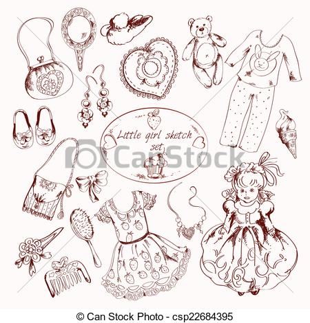 Sketch clipart little EPS set of  accessories