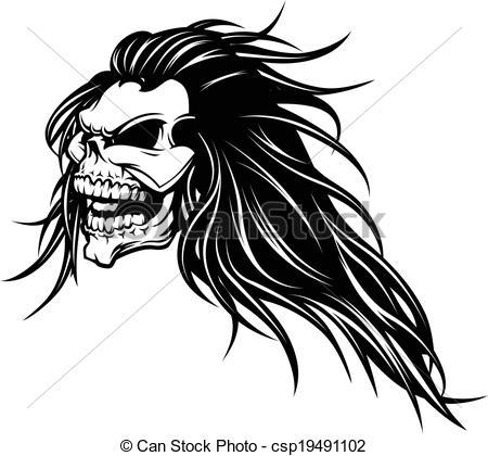 Sketch clipart long hair Vector long illustration  skull