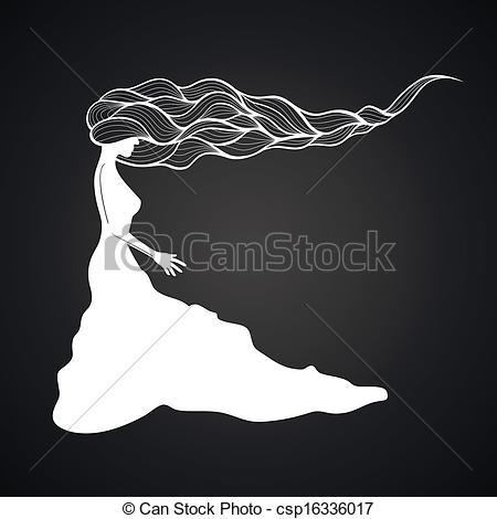 Sketch clipart long hair Curly woman woman  hair