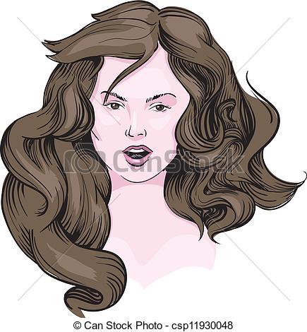 Sketch clipart long hair Brown girl of csp11930048 brown