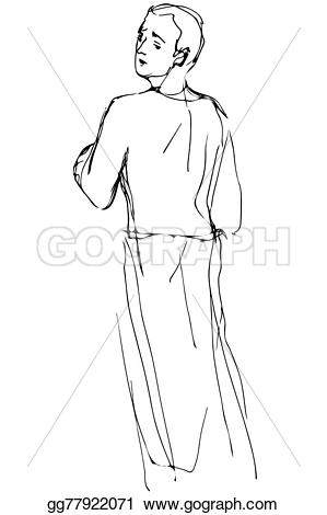Sketch clipart man Looking and of looking Stock
