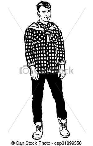 Sketch clipart man  of in shirt sketch