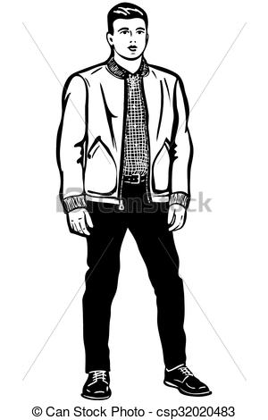 Sketch clipart man In Vector man black young