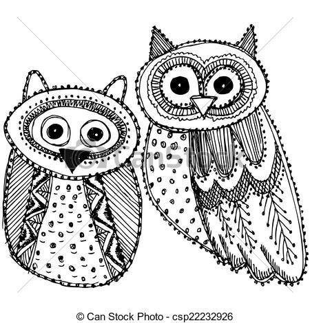 Owlet clipart black and white Hand  Sketch Owl Vector
