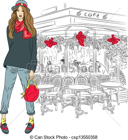 Sketch clipart paris Background Vector girl of on