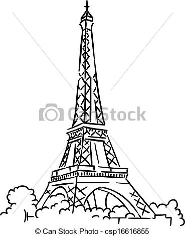 Eiffel Tower clipart line drawing Tower of Vector tower csp16616855