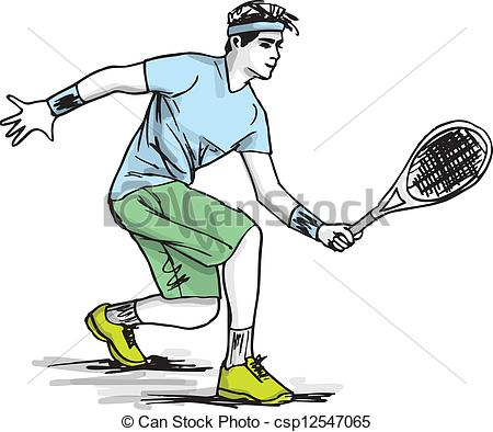 Sketch clipart person Playing Sketch tennis of csp12547065