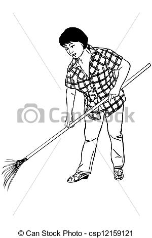 Sketch clipart person Woman of of Illustration rakes