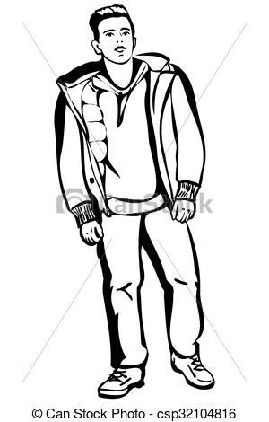 Sketch clipart person Man a young short Vector