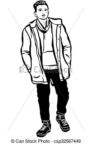 Sketch clipart person EPS young scarf man Vector