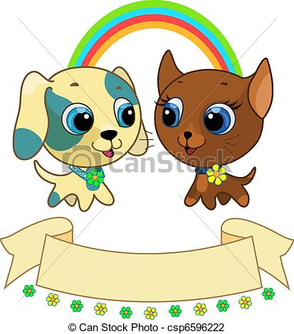 Sketch clipart puppy kitten Vector friendship kitten kitten Illustration