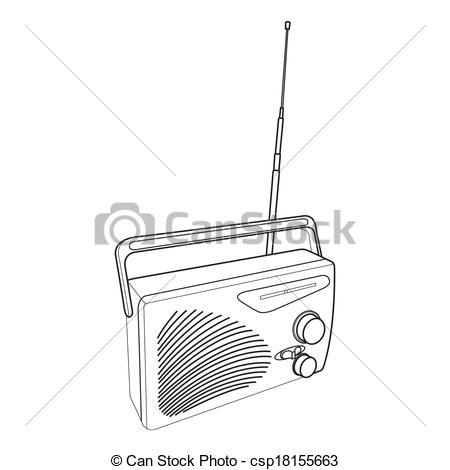 Sketch clipart radio And of and transistors Vector