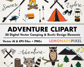 Camping clipart adventure travel Clipart Woodland Rustic clipart Rustic