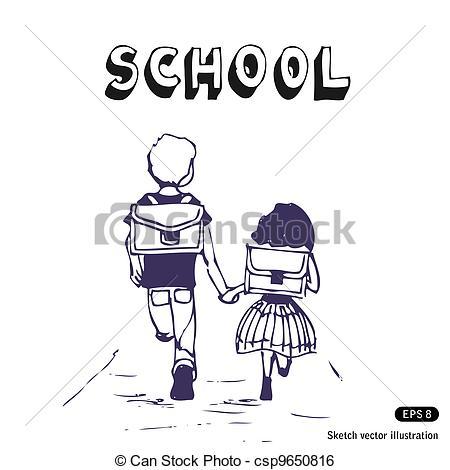 Sketch clipart school Go Vector of school Art