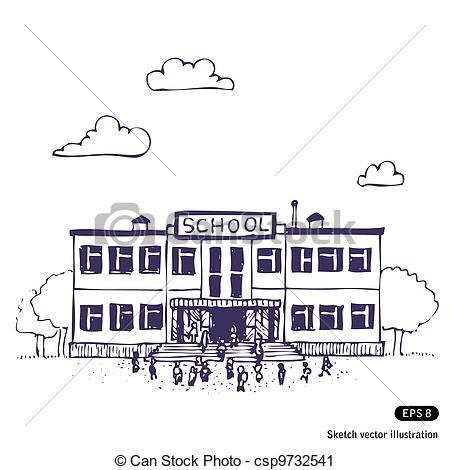 Sketch clipart school  Hand Art building School