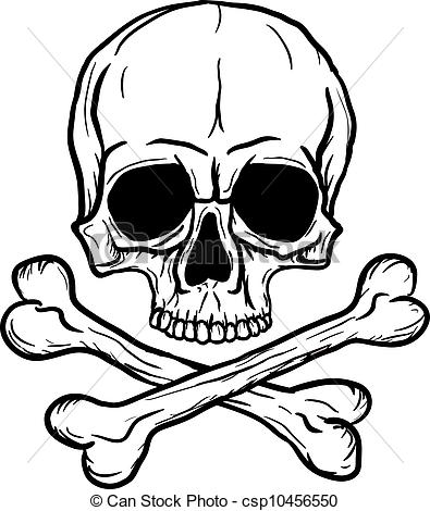 Sketch clipart skull and crossbones Over Crossbones Freehand EPS black