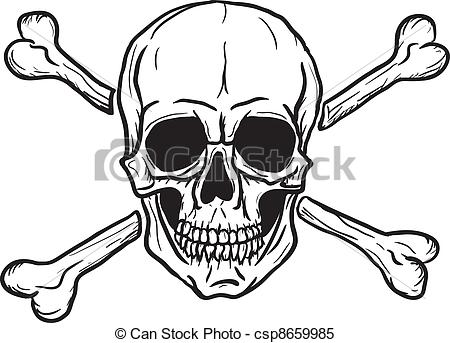 Sketch clipart skull and crossbones Over  black and csp8659985