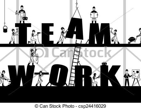 Sketch clipart teamwork Illustration csp24416029 Poster Teamwork Teamwork