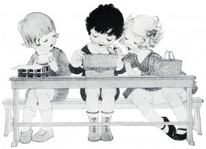 Sketch clipart toddler Children children school vintage box