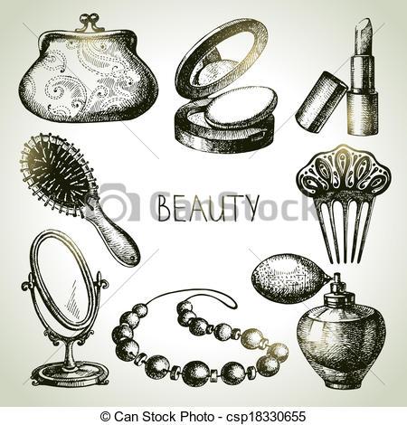 Beautiful clipart cosmetology Set of drawn sketch