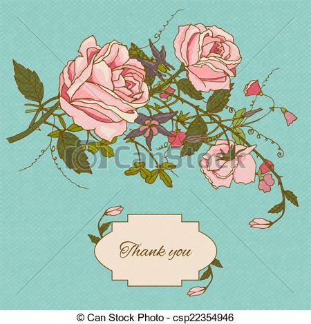 Vintage Flower clipart colored Vintage color  flowers color