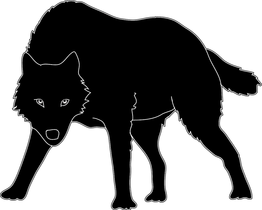 White Wolf clipart black and white Art silhouette sketch siilhouette Animal