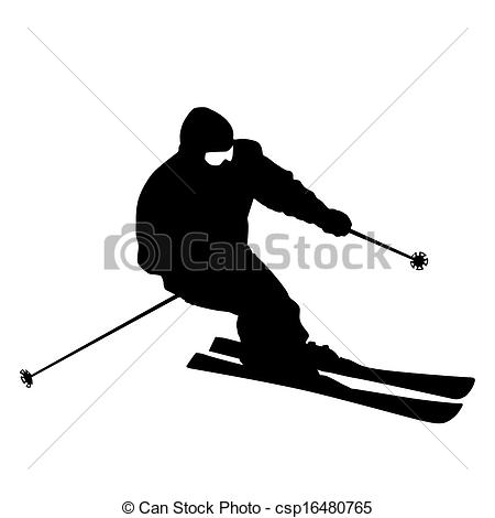 Ski clipart mountain skiing Clipart Silhouette Skier
