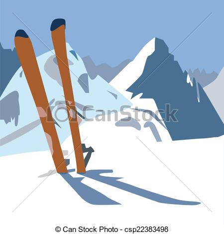 Ski clipart pair skis An a mountain the