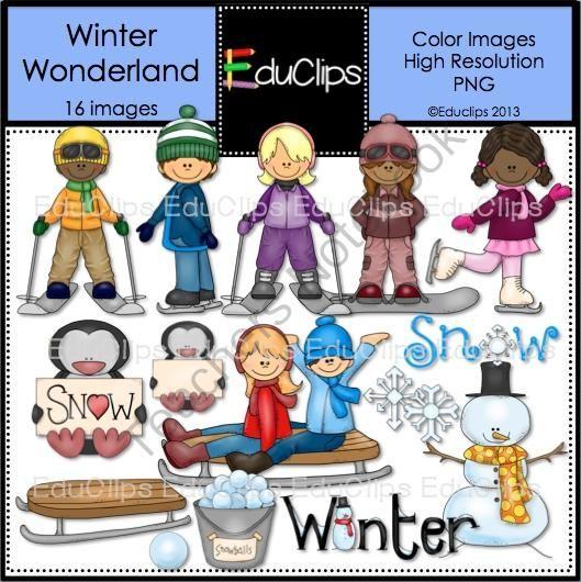 Winter clipart activites Art on TeachersNotebook Winter com