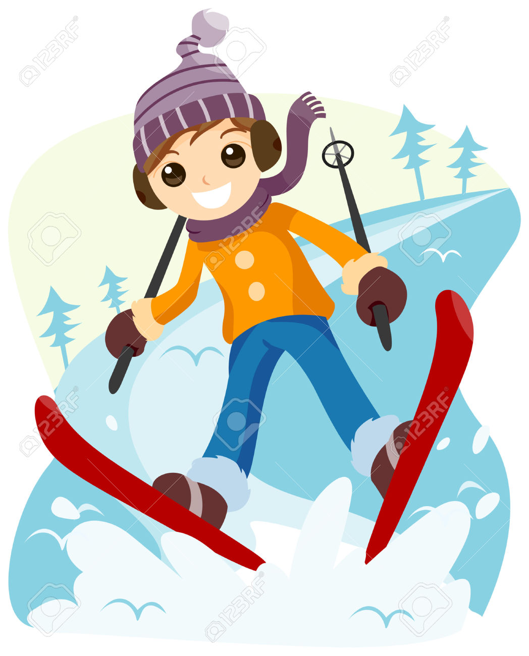 Skiing clipart winter activity Skier clipart  collection Boy