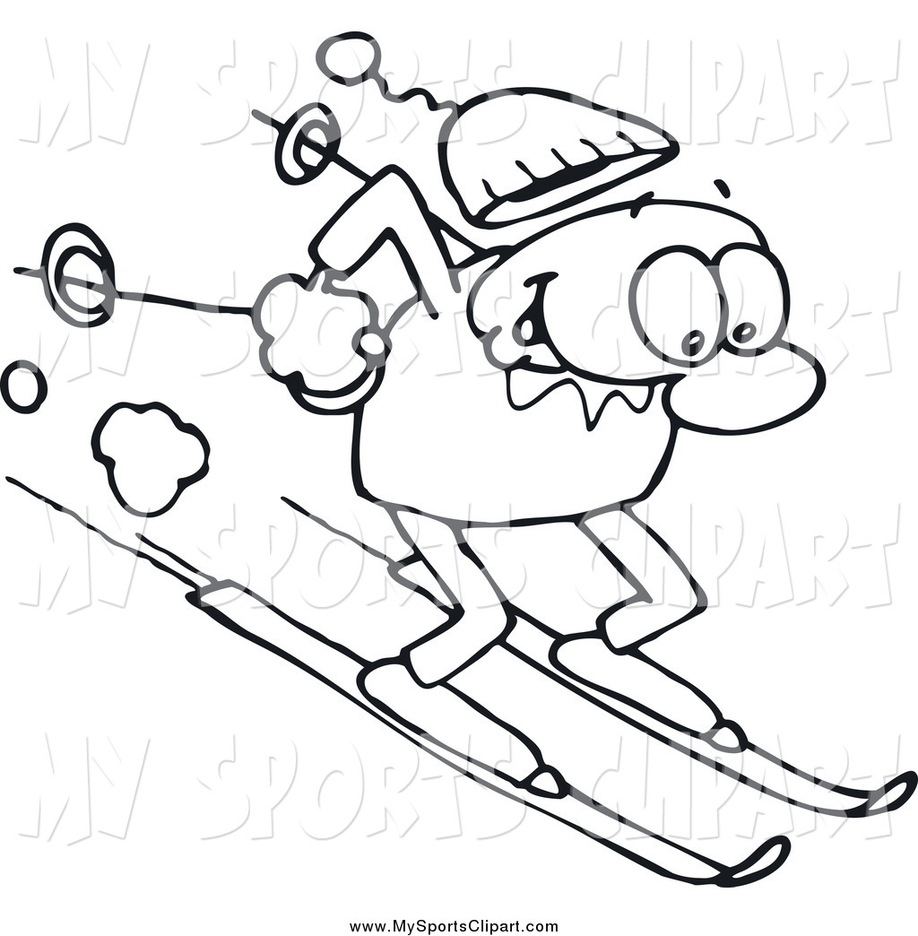 Skiing clipart black and white A Art collection clipart of