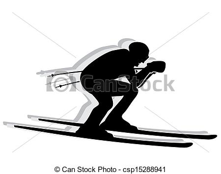 Skiing clipart black and white Black Ski Free Stock competitor