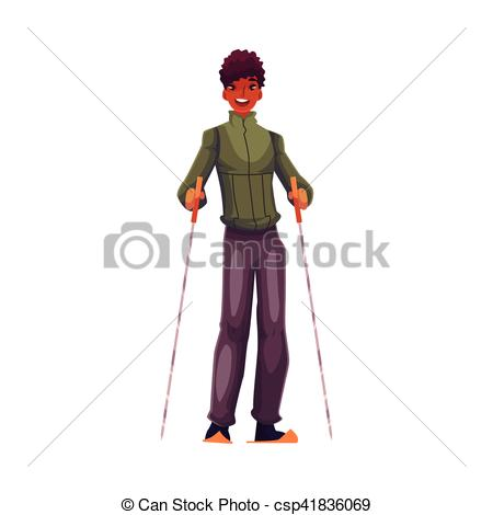 Skiing clipart black man  and with with cartoon