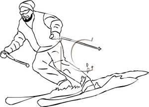 Skiing clipart black man Skiing of Cartoon White Free