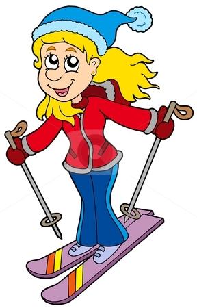 Skiing clipart cartoon Cartoon woman skiing skiing vector