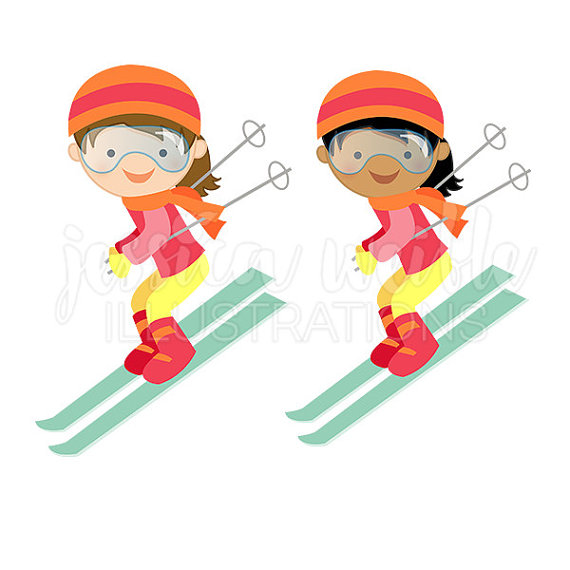 Ski clipart downhill skiing Cute Digital Digital Winter Clipart