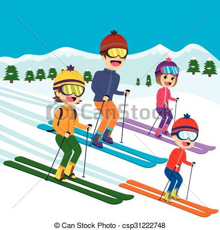 Skiing clipart family skiing Family members Vector of family