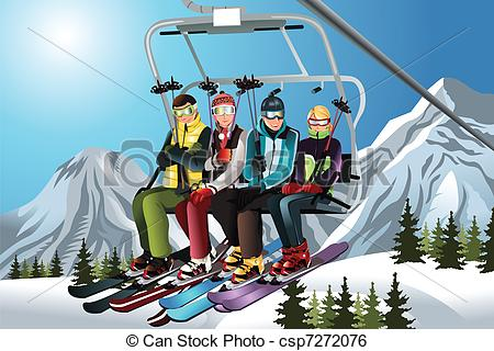 Ski clipart family skiing Art lift the Skiers
