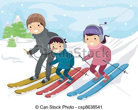 Skiing clipart family skiing Family  Art Family a