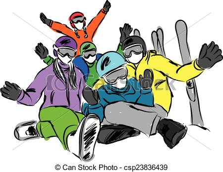 Skiing clipart family skiing Happy  Clipart shows illustration