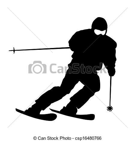 Ski clipart mountain skiing Speeding Vector Clip Vector skier