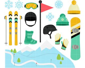 Skiing clipart ski snowboard Clip Scrapbooking Etsy Cupcake Snowboard