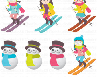 Skiing clipart ski snowboard Files and Digital Download Ski