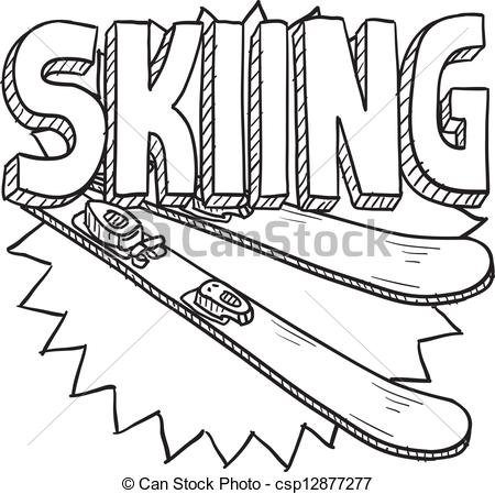 Skiing clipart snow skiing Snow sketch Snow skiing style