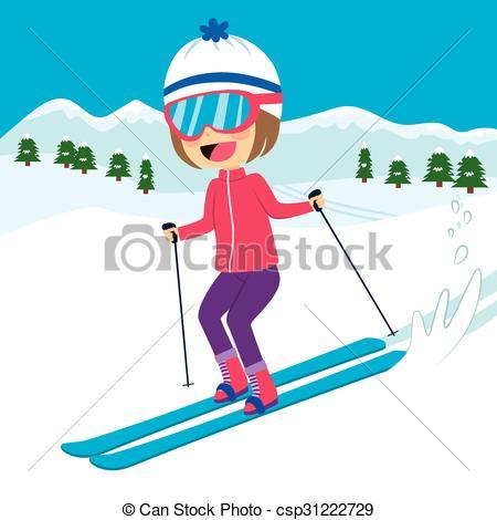 Ski clipart mountain skiing Skiing Illustration Skiing csp31222729 Girl