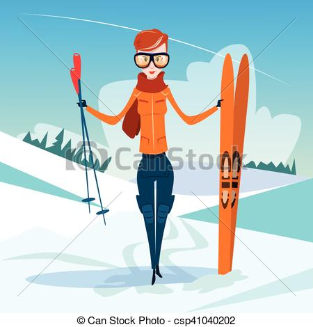Skiing clipart winter activity Mountain  Hold Vacation Clipart