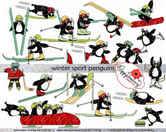 Skiing clipart winter sport (300 clip Penguins: Snowboard png